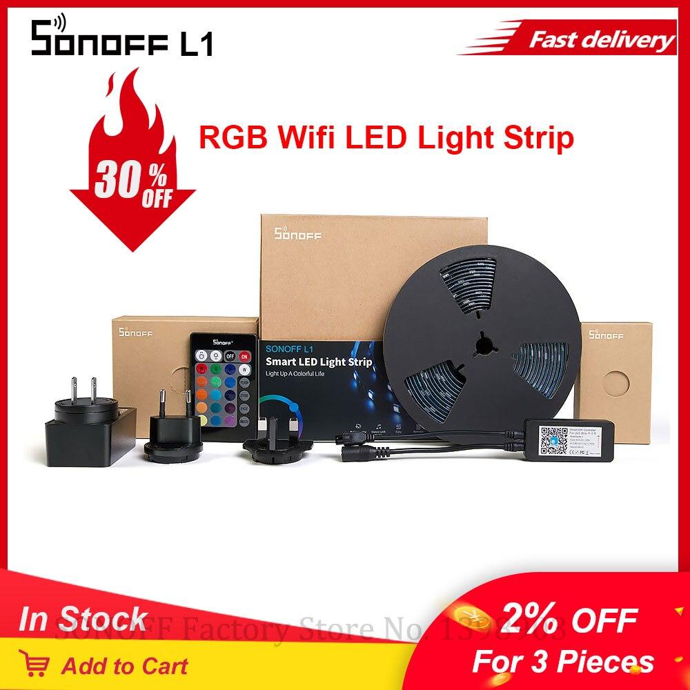 Sonoff l1 wifi inteligente tira de luz led 2m/5m 5050 rgb tira conduzida controlador wi-fi pode ser escurecido tv luz backlight flexível listra lâmpada