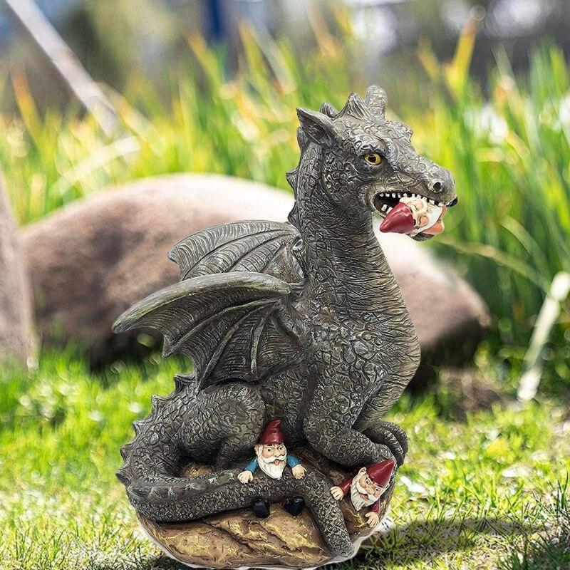 Pterodactyl Eat Dwarfs Statue Garden Ornament Art Resin Craft Landscaping Yard Sculptures Decoration for Home Garden wholesales