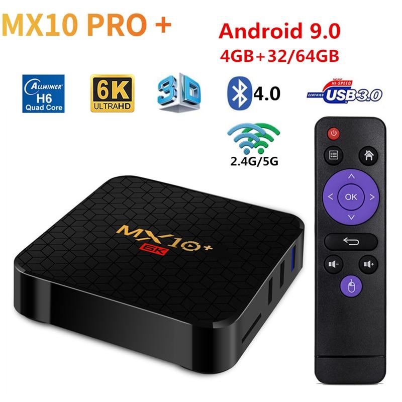 6K Dispositivo de TV inteligente MX10 Plus Android 9,0 Allwinner H6 Quad Core 4G 32G 64G 5G Dual WiFi BT4.0 apoyo 6k * 4K H.265 reproductor de medios