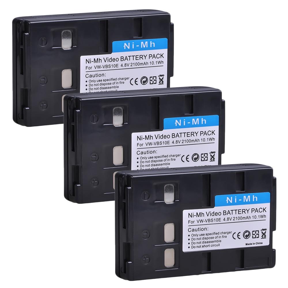 3pcs VW-VBS10E VW-VBS10 VW VBS10 VW VBS10E Battery for HHR-V211 P-V211 VBS10E VSB-0190 VSB-0200 VW-VBH10E, NV-A1 NV-RX11