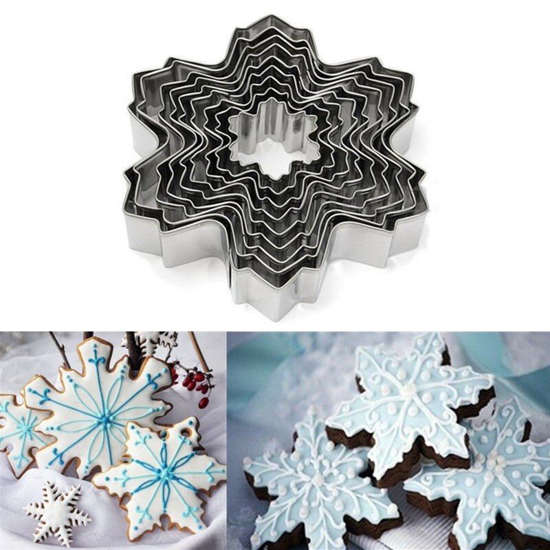 9pcs Christmas Snowflake Biscuit Cookie Cutter Cake Decor Baking Mold Mould Tool fondant  Clay Pottery Shape Cuttering Molds