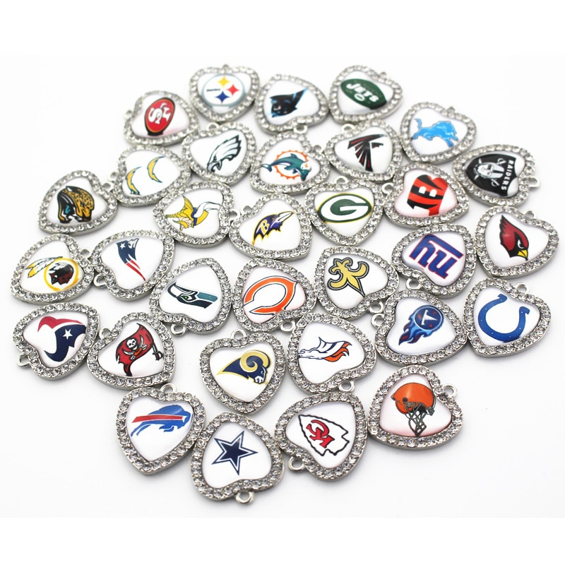 32pcs/lot Sports Team Football Baseball Hockey Crystal Dangle Charms For Men Women Bracelet Necklace Pendant DIY Jewelry