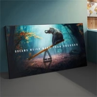 playful elephant on the seesaw print poster modern animal print mural nordic landscape canvas painting wall art pictures decor