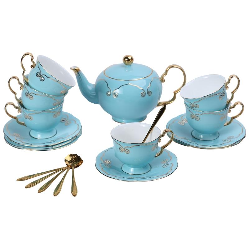 Royal Ceramic Coffee Cup Saucer Set Luxury Creative Chinese Blue Bone China Cup Porcelain Spoon Simple Xicaras De Cafe Tea Cup 6