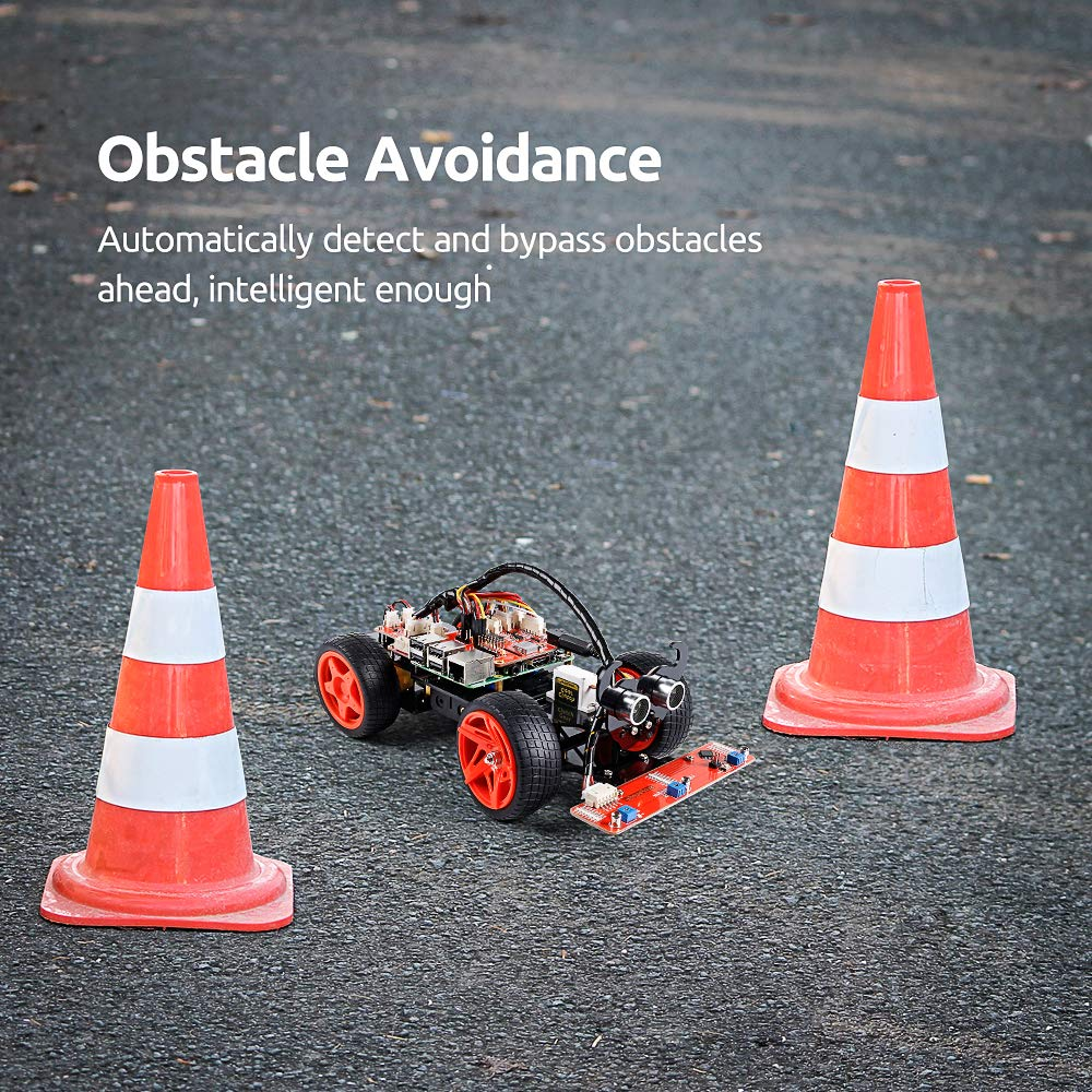 SunFounder Obstacle Avoidance Line Following Remote Control RC Car Kit For Raspberry Pi 4 3 ,2 Model B+ enlarge
