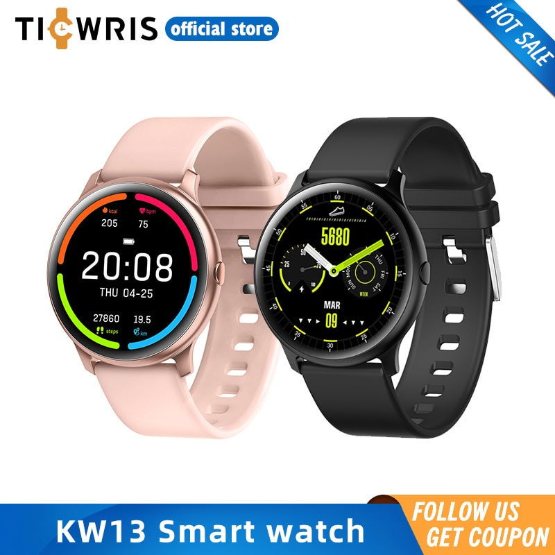 KW13 relojes inteligentes para hombre 260mAh 1,2 pulgadas AMOLED Android reloj podómetro mensajes instantáneos mujeres Deporte Fitness Smartwatch para IOS