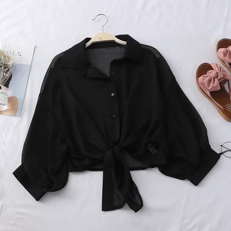 Heliar blusa feminina preta de chiffon, com botões, gola em v, blusa amarrada com tribais, para escritório, verão 2020