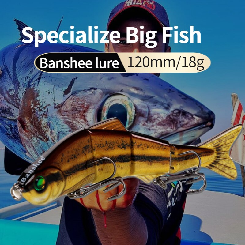 Banshee 120mm 18g VMJ04-5 Freshwater 4 Sections multi Jointed life like sinking Swimbait fishing lure Hard Artificial Bait
