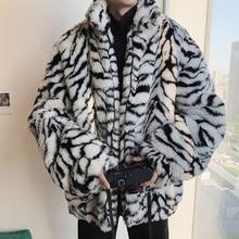 Male Thicken Warm Printed Oversized Zip Fur Overcoat Winter Mens Fur Coats Jackets Warm Faux Fur Jacket Men Brand Clothing