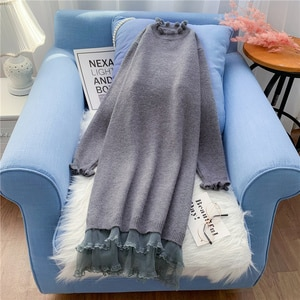 Ruffles Knitted Women Dresses Solid Mesh Patchwork Loose Knee-length Lady Elegant Dresses Top Quality