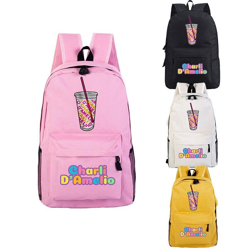 Mochila Feminina Mochila Charli Damelio Escola Sacos Sac A Dos Plecak Enfant Fille Mulheres Laptop Mochilas Homens Sacos de Rosa para Meninas