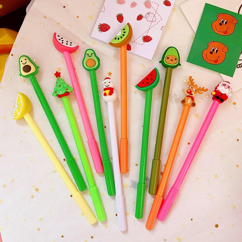 12 unids/bolsa bolígrafos de Navidad lindo árbol bolígrafo de Gel con dibujos Kawaii negro tinta Color bolígrafo coreano 0,5mm Gel lápices Oficina escuela papelería