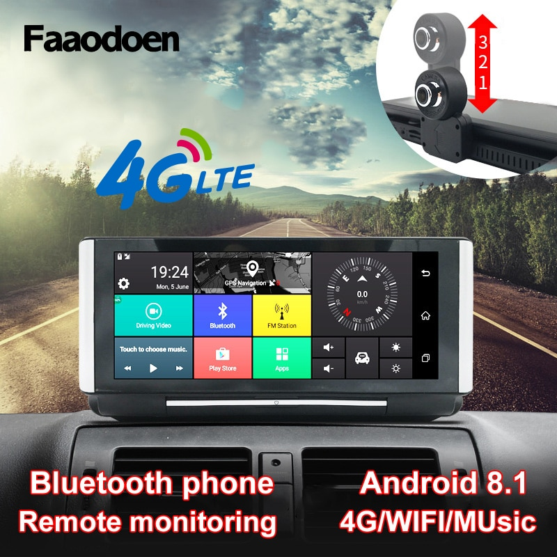 Faaodoen 7 Inch 4G Car DVR Camera GPS FHD 1080P Android Dash Cam Navigation ADAS Car Video Recorder Dual Lens Dashboard camera