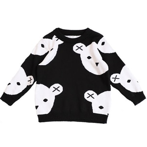 INS Hot Kids Sweaters Cartoon Bear Children Knitted Sweater Cute Baby Boys Girls Pullover Sweater Age for 12M-6Y GW133