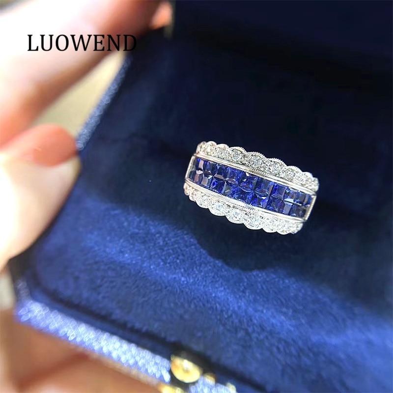 LUOWEND 18K خاتم من الذهب الأبيض الكلاسيكي خاتم الزواج الفاخرة ساحة الطبيعية خاتم من الياقوت الأزرق المرأة المشاركة خاتم ألماس أصلي