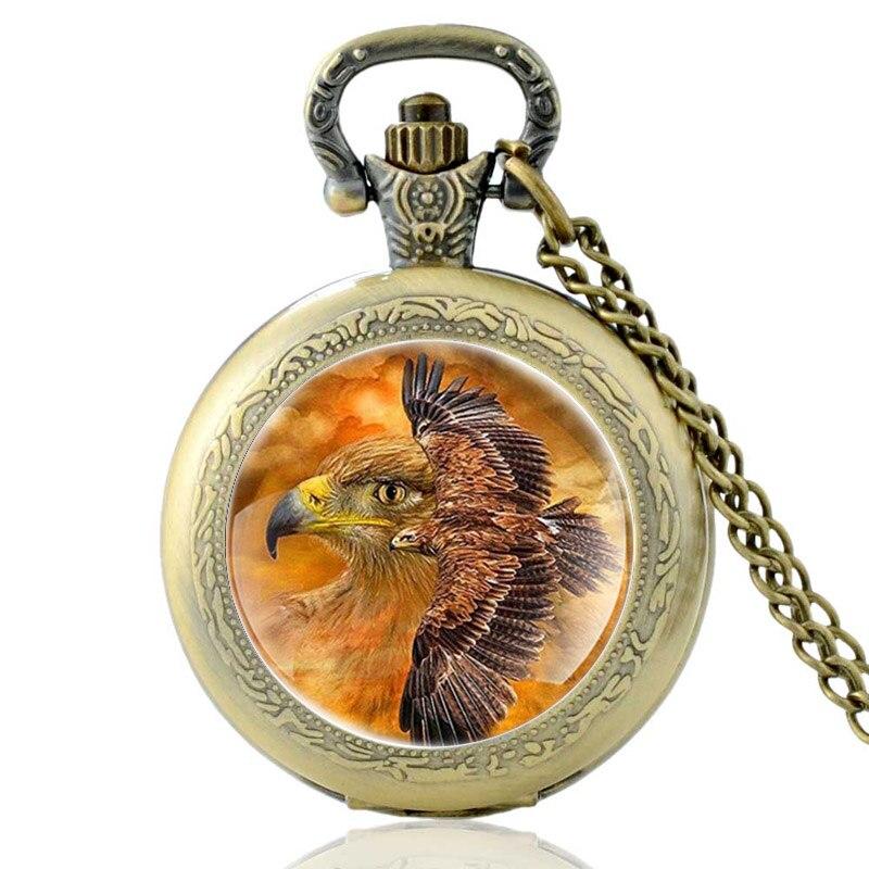 Антикварные кварцевые карманные часы с летающим орлом, бронзовые винтажные мужские и женские ожерелья с кулоном, ювелирные подарки