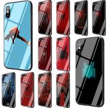 Marvel örümcek adam Logo temperli cam kılıf Huawei P10 P20 P30 Mate 20 onur 9 10 Lite Pro 7A 8X P akıllı