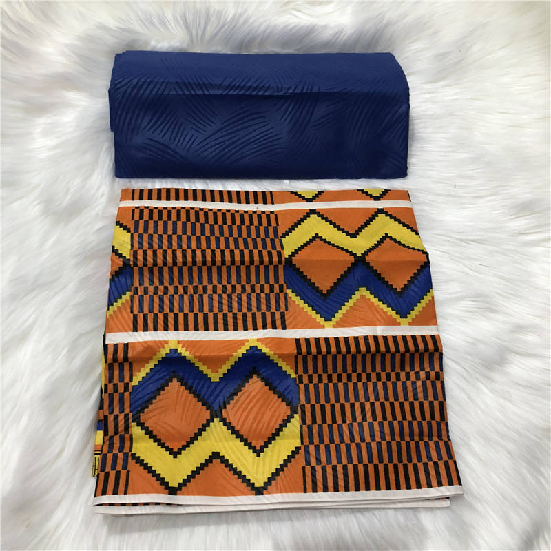 Amarelo africano kente imprime tecido de cera tecido de costura de poliéster estilo de cera design africano impressões poliéster 4 jardas aw30