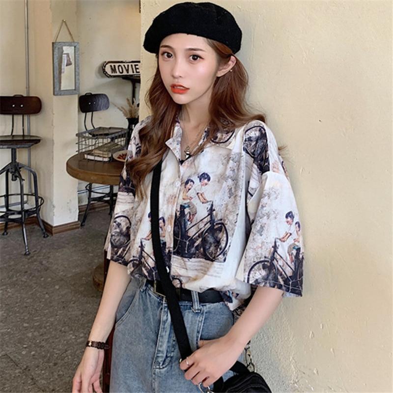 Japanese Style Salt Retro Hong Kong Style Short-Sleeved Shirt Female Student Design Sense Non-mainst