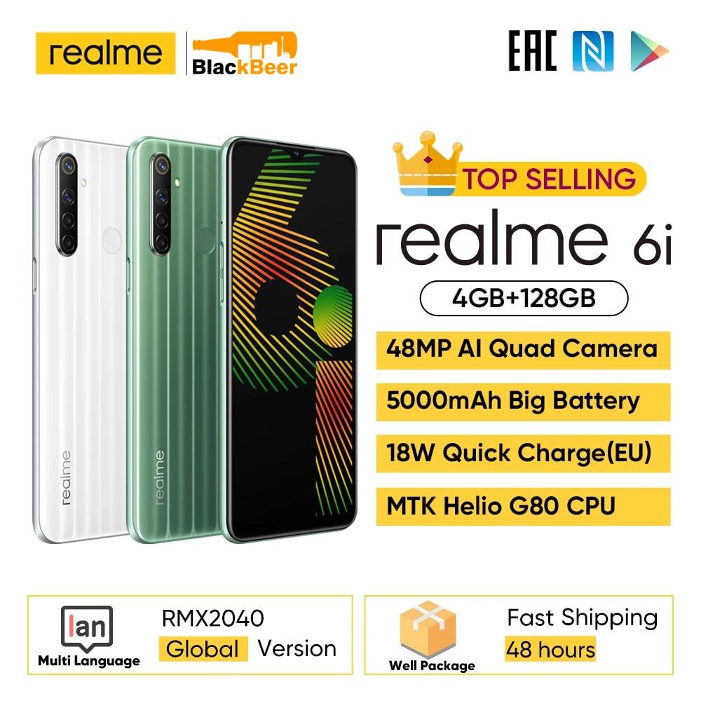 "Realme 6i 6 i 6.5"" Android Mobile Phone MTK Helio G80 Smartphone 4GB RAM 128GB ROM Cellphone 5000mAh Global Version 3 Card Slot"