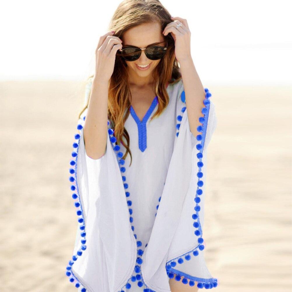 Pareo largo para mujer, bañador sexy de verano para playa, con pelotas de encaje, Blusa con borlas, manga larga, funda para Bikini, traje de baño para playa 2020