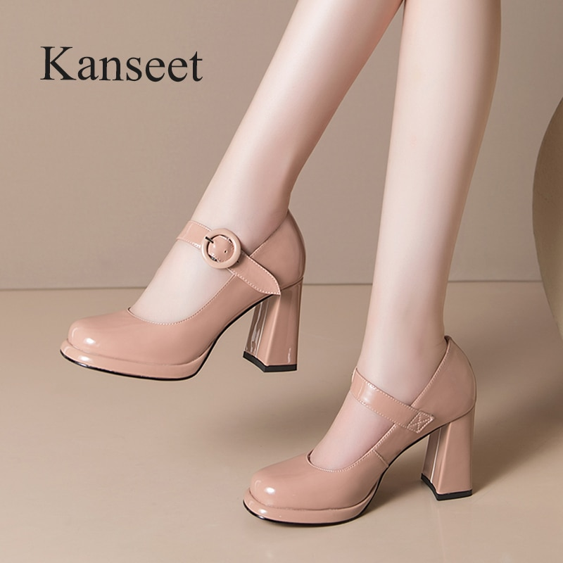 Kanseet Cow Patent Leather Women's Shoes Concise Office Ladies Elegant Woman Pumps Square Toe Buckle Thick High Heels Footwear
