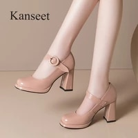 kanseet cow patent leather womens shoes concise office ladies elegant woman pumps square toe buckle thick high heels footwear