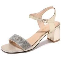 summer sandals women high heels women shoes new versatile rhinestone one piece buckle strap open toe women shoes 3 55