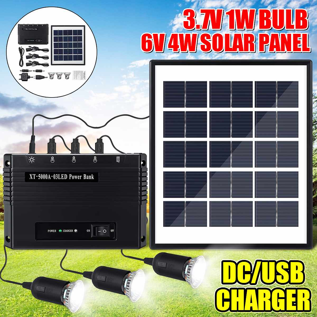 4W 6V USB Charger Home System Solar Power Panel Generator Kit with 3 LED Bulbs Light Power Bank For Indoor/Outdoor Lighting