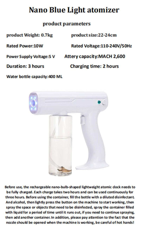 Wireless Chargeable Blue Ray Nanometer Handhold Sterilizer Spary Gun Air Purifies Sprayer Water Foggier Machine enlarge