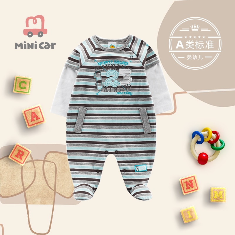 Baby one piece Romper baby cotton open file climbing clothes autumn style warm clothes for going out