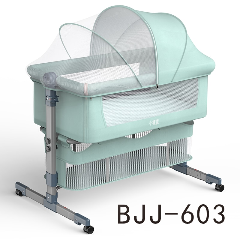 Baby Bed with Net and Mattress Portable Removable Crib Cradle Foldable Adjusting Stitching Nest  Baby Nest Bed enlarge