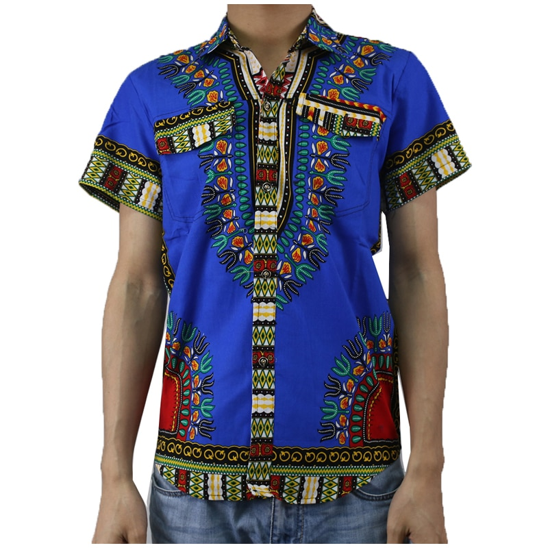 Футболка с Африканским принтом для мужчин, рубашка Дашики с коротким рукавом, традиционная классическая одежда, африканская Мужская одежда...