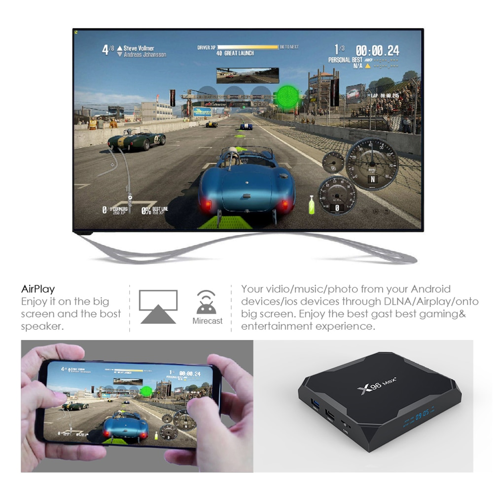 Smart TV Box Android 9.0 X96 Max Plus 4GB 64GB 32GB Amlogic S905X3 Quad Core 5.8GHz Wifi 1000M 4K 60fps Set Media Player x96max