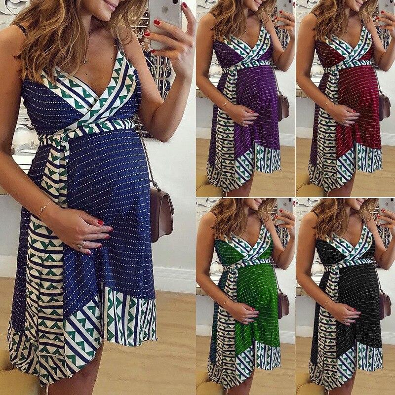 New women's printed suspender maternity dress om8885