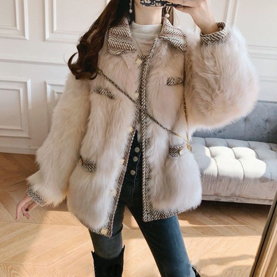 Autumn and winter new faux fur coat women's short thickened winter fashion was thin woolen stitching small fragrant fox fur