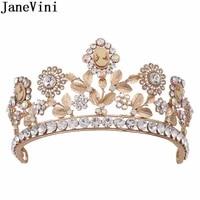 janevini western style gold bridal tiara hair crown wedding hair accessories crystal rhinestone silver bride crowns headband