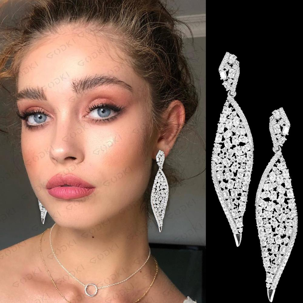 GODKI 2020 New Leaf Charms Earring For Women Wedding DUBAIStatement Earring for Women Gold Cubic Zircon Earrings Jewelry
