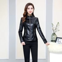 2022 new autumn and winter short korean womens outer casing leather jacket ladies leather