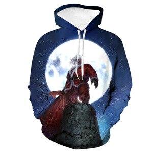 Unisex Chimney Santa Claus Christmas 3D Digital Print Loose Hooded Sweater Pullover Women Men Xmas New Year Sweatshirt Hoodie