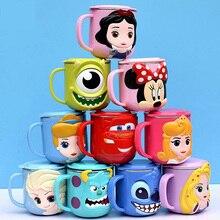 Disney-taza de leche de dibujos animados para niños, vaso creativo de acero inoxidable de 300ML para beber agua, vaso de jugo de Mickey