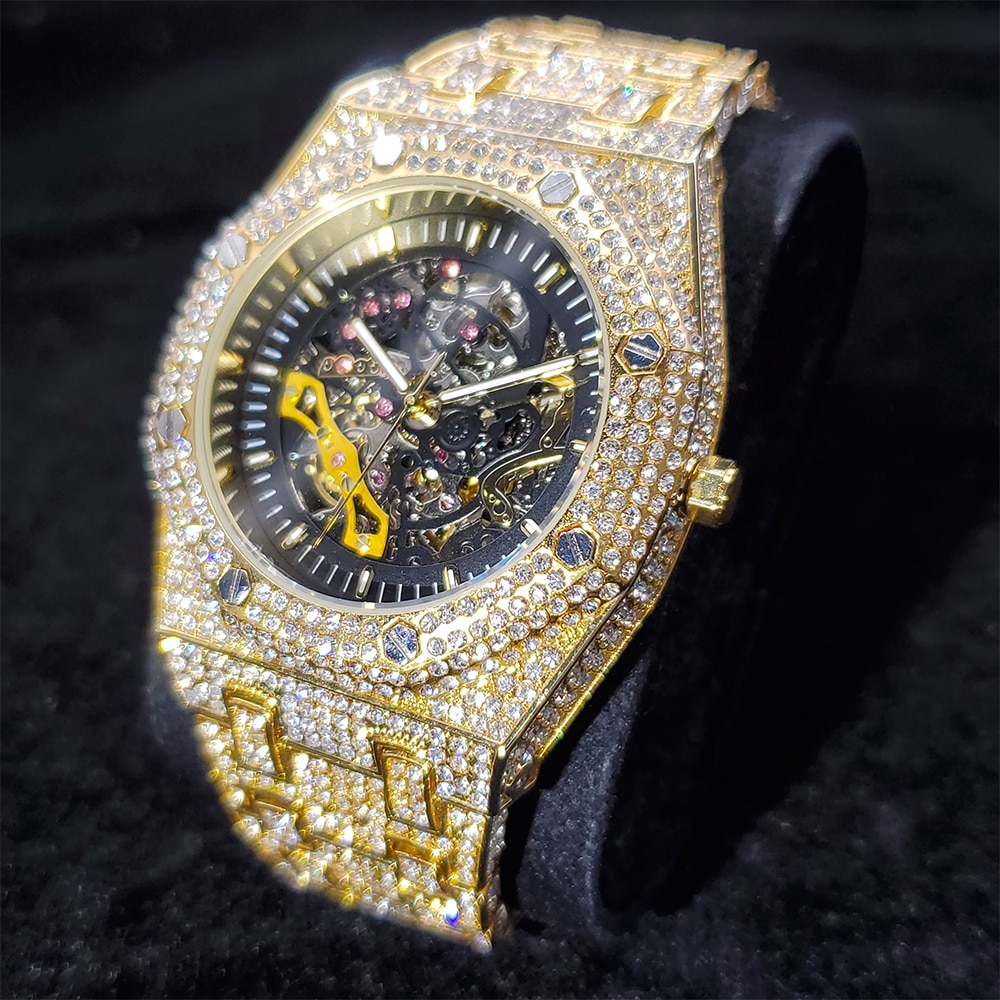 Hip Hop Hollow Men Watches Gold Iced Out Automatic Mechanical  Full Diamond Watch AAA Dress Stainless Steel Clocks Dropshipping