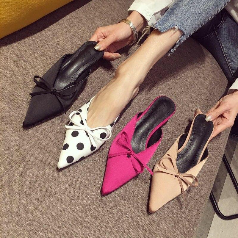 Pantofole tacco alto da donna di nuova moda sandali eleganti punta a punta pantofole tacco piccolo scarpe con fiocco
