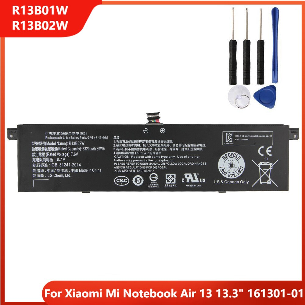 Xiao Mi Original Replacement Laptop Battery R13B01W R13B02W For Xiaomi Mi Notebook Air 13 13.3