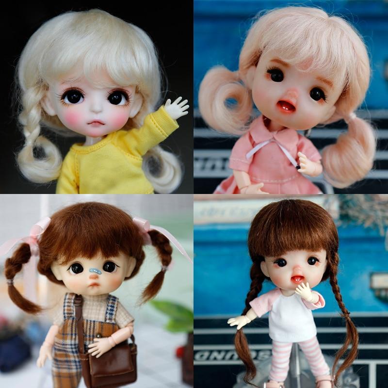 Nouvelle haute qualité fibre souple mohair 1/8 BJD poupée perruque rose brun perruque SD BJD poupée pour 14-15cm diamètre belle poupée accesoriess