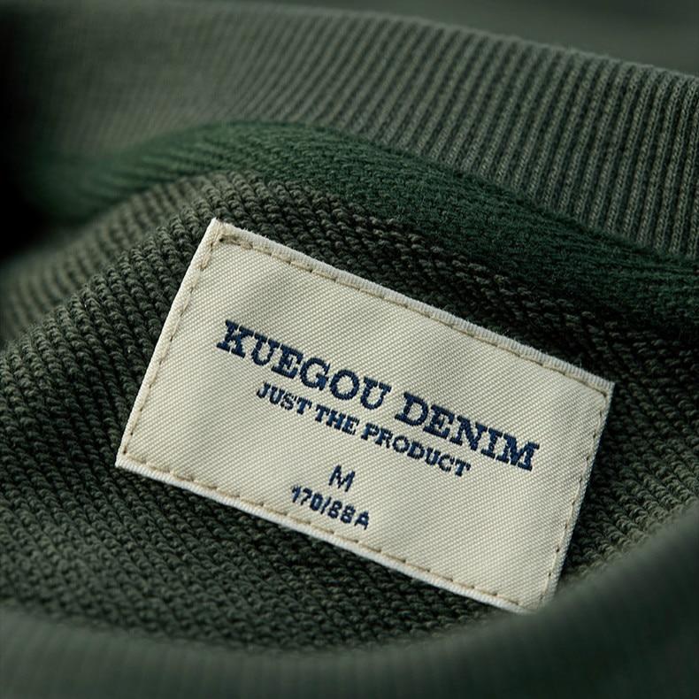 KUEGOU 2020 Autumn 100% Cotton Plain Crewneck Sweatshirt Men Fashion Vintage Trendy Streetwear Designer Oversize Clothes 20527