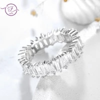 real 925 sterling silver fine jewelry geometric white zircon rings for women fashion wedding engagement rings party gift