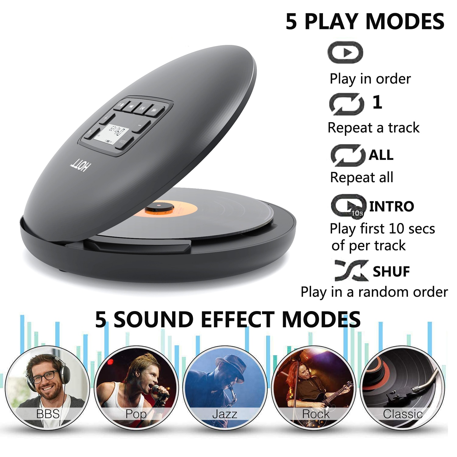 Bluetooth Portable Dynamic CD Player For Family Travel And Car, With Stereo Headset, Shockproof Protection-Black Vogue enlarge