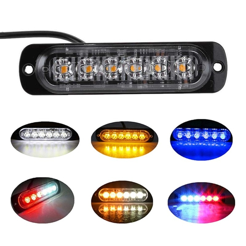 6 LED Truck Car Warning Lights Yellow White Blue Strobe Light Emergency Flashing Lamp 12-24V High Bright Lights