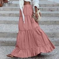 zanzea women ruffles pleated skirts 2021 spring high waist skirts female casual faldas saia cotton solid vestidos robe